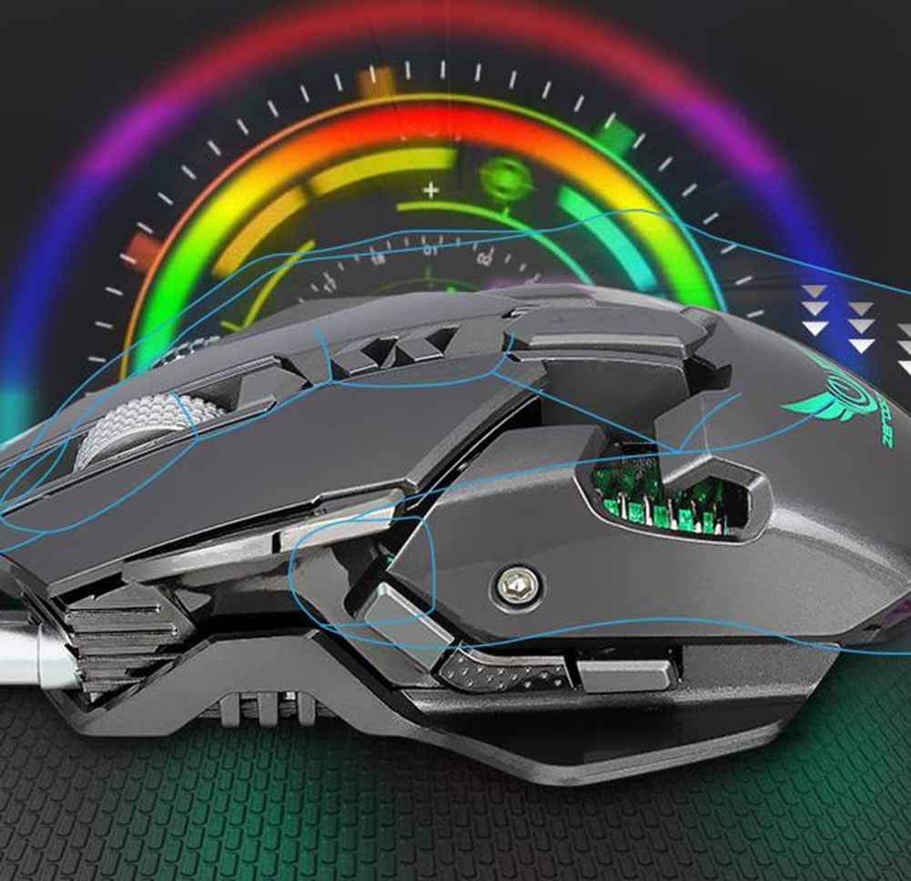 Dandan Wired Mouse Colorful Luminous Mechanical Wired Gaming Mouse Cool 7 Colors Reduced Sweating Slipping Not Easy to Take Off