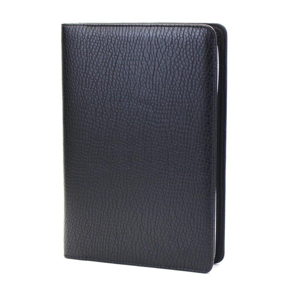 Chris-Wang 1Pk PU Leather Zipper Binder Business Zippered 6-ring Portfolio Planner -Filler Paper, Pagefinder Ruler, Calculator, Clear PVC Card Bag Included (A5, Black)