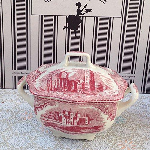BZCPZ Red Scenery Castle Tableware in Western Dish Coffee Cup,Sugar Bowl (Bowl Castle Sugar)