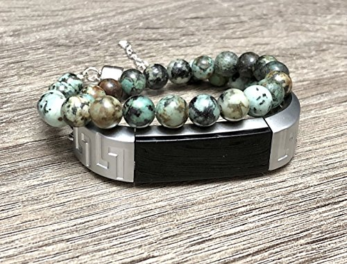 African Turquoise Bracelet for Fitbit Alta & Alta HR Fitness Tracker Handmade Jasper Natural Glass Stones Fitbit Alta Band 925 Sterling Silver Jewelry Chain Magnetic Clasp Adjustable Wristband Bangle