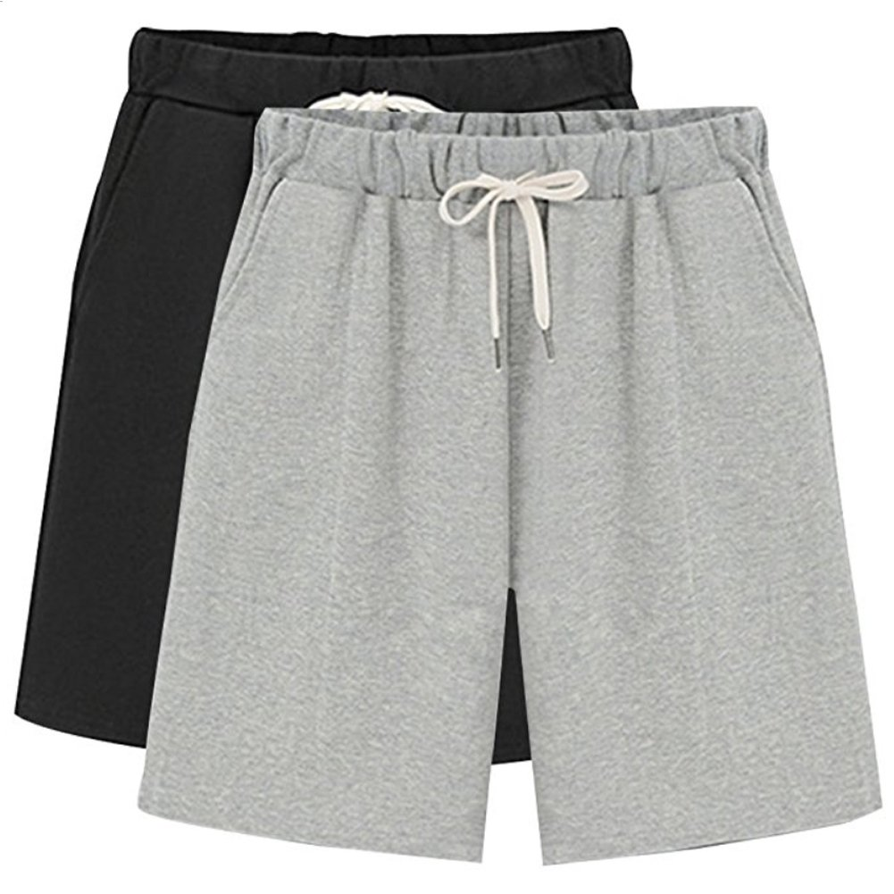 XinDao Women's Upgraded Version Bermuda Shorts Casual Relaxed Fit Cotton Gym Shorts with Pockets Grey+Black US 14/Asia 4XL