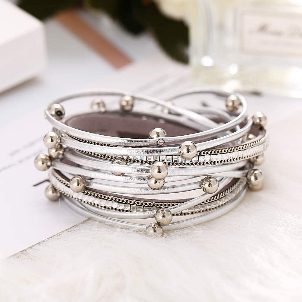 Fashion Jewelry Crystal Diamond Beads /& Steel Ball Magnetic Buckle Ladies PU Leather Bracelet for Women /& Men