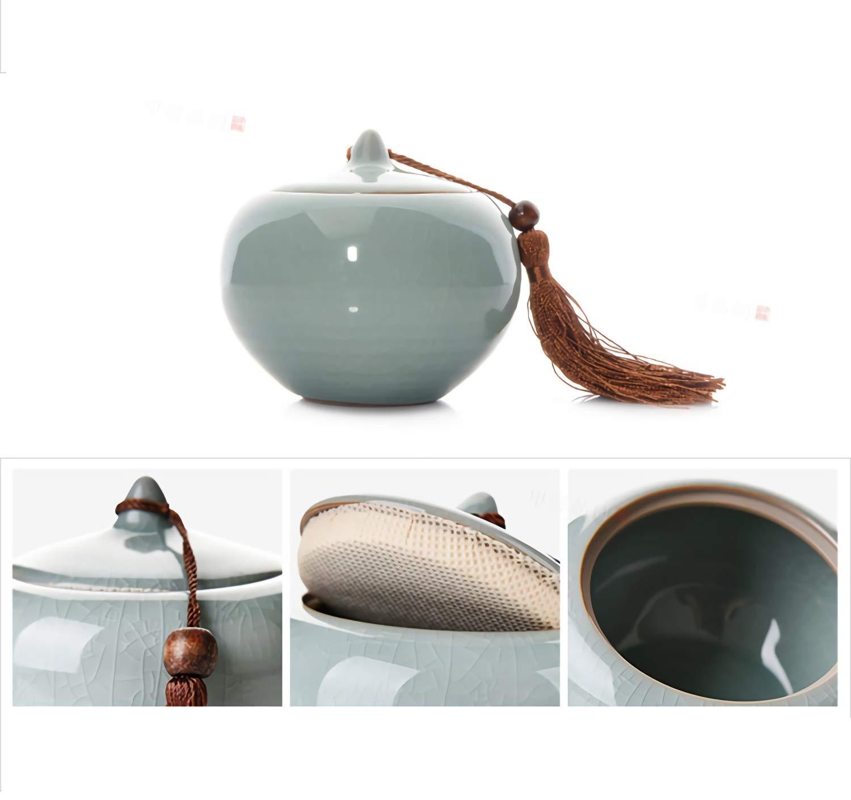 Tea Caddy Small Square Cajas De T/é Bote China Cer/ámica Ge Kiln Design Bote Para T/é Apertura Puede Levantar