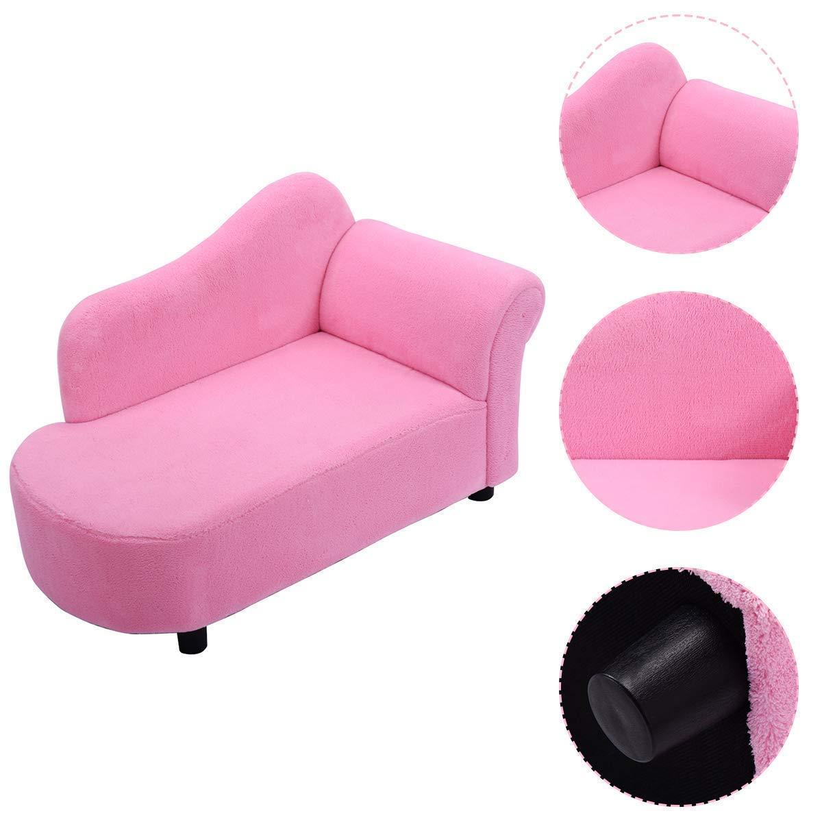 Amazon.com: HONEY JOY Kids Chaise Lounge Sofa Couch Set ...