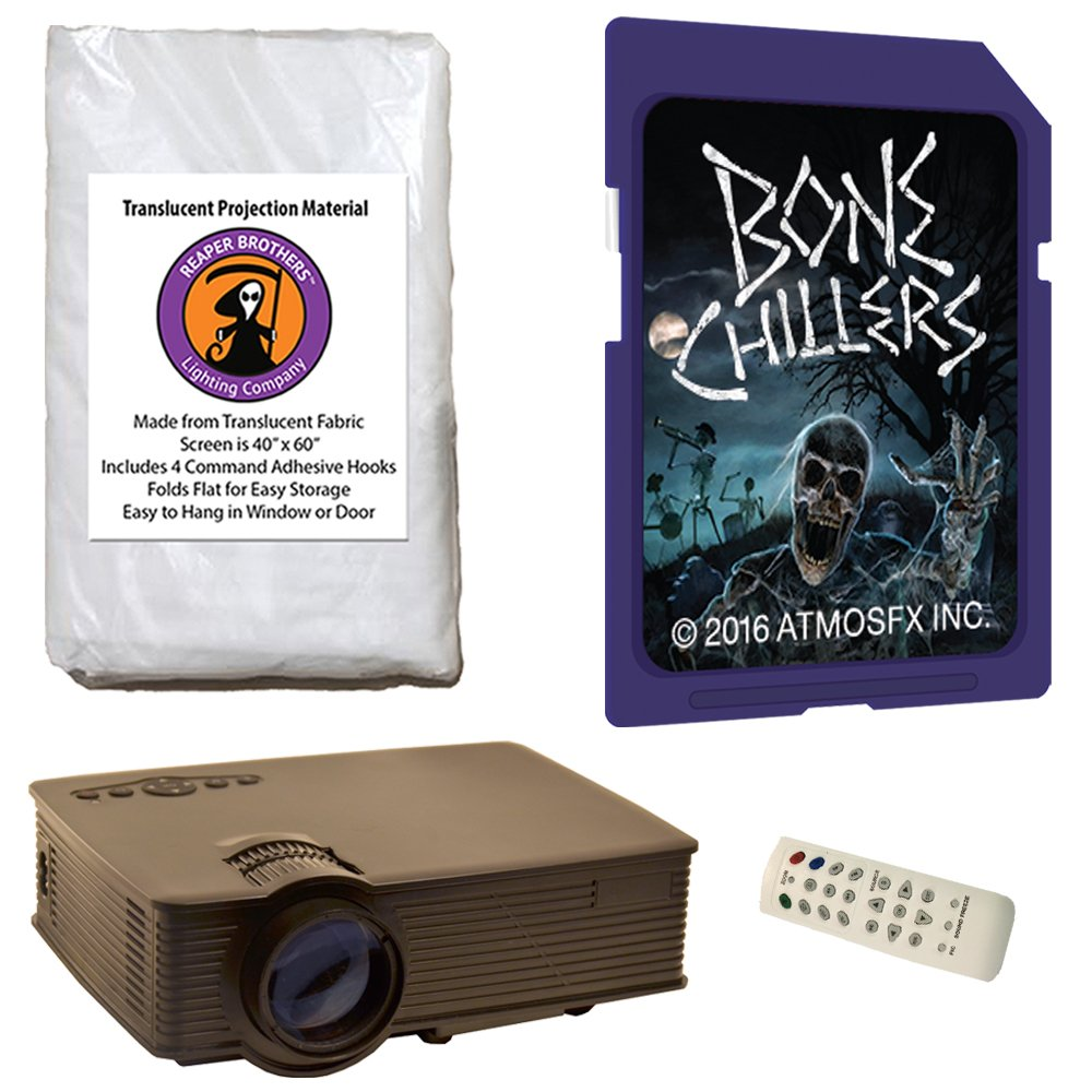 AtmosFearFX Bone Chillers SD Card Projector Kit with 1900 Lumen LED Video Projector, Reaper Brothers High Resolution Window Rear Projection Screen and AtmosFearFX Bone Chillers SD Card