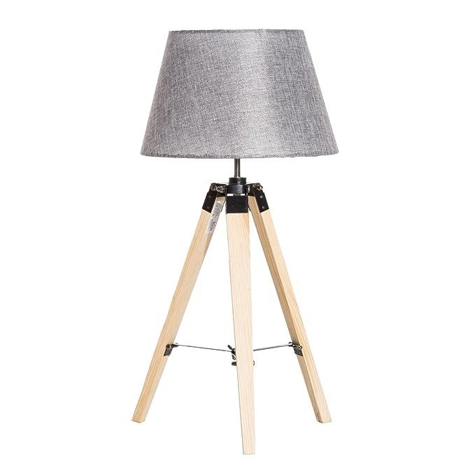 Homcom – Lámpara trípode lámpara de mesa lámpara de mesa de madera ...