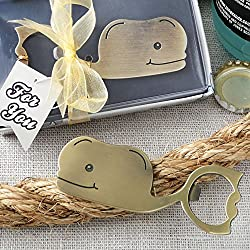 6 Fun Whale Themed Brass Finished Metal Bottle Openers