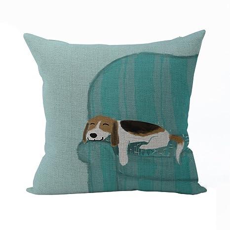 Nunubee Patrón de Los Perros Funda de Cojín Decorativo Almohada de Regalo y Accesorio para el