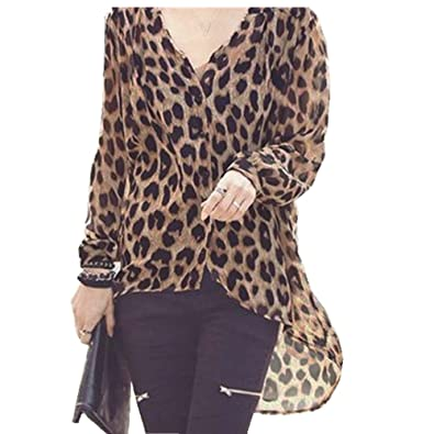 ee7fb8f8ba4a47 ZANZEA 10-12 Sexy Womens Leopard Irregular Hem Oversize Tops Loose Chiffon  Shirt V-