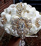 Made to order Ivory & Gold Satin Rose Brooch Bouquet BCUST- 202