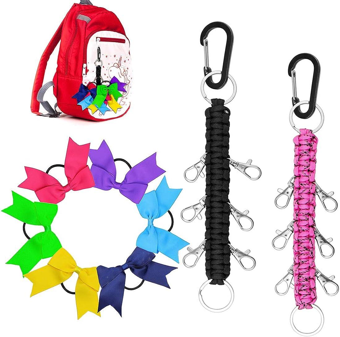 Yotako Paracord Cheer Bows Holder, 2 Pack Handmade Keychain Bow Organizer with 6 Pcs Cheer Bows Hanger for School Supplies Cheerleading Girls Cheer Bow Storage Black Pink