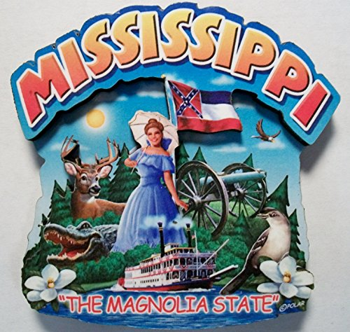 Magnolia Montage - Mississippi the Magnolia State Artwood Montage Fridge Magnet