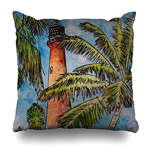 Decorativepillows 16 x 16 inch Throw Pillow Covers,Cape Florida Lighthouse Lighthouses Pattern Double-Sided Decorative Home Decor Indoor/Outdoor Garden Sofa Bedroom Car Kitchen Nice Gift