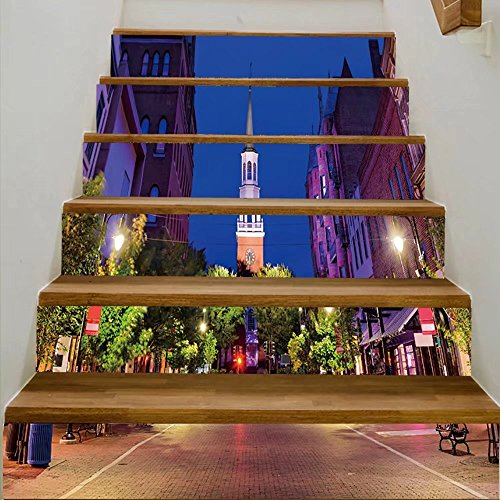 vanfan 3D Creative burlington vermont uscityscape at church street marketplace DIY Refurbished Stairs Stickers Removable Waterproof Stairs Mural(39.3