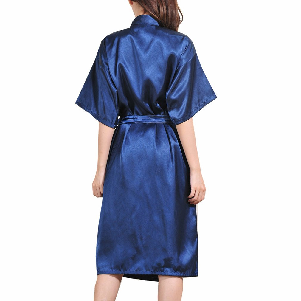Yying Women Kimono Robe Long Dressing Gowns Classic Satin Silk Wedding Bridal Bathrobes Nightwear