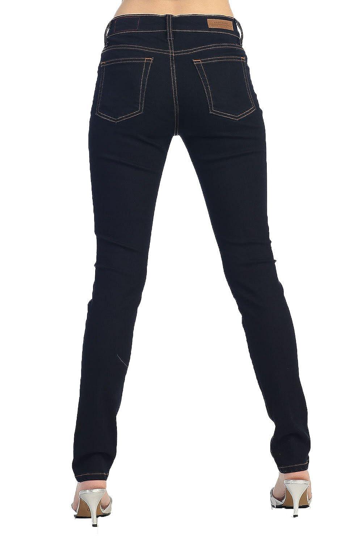 Angry Rabbit Womens Mid Waist Relaxed Skinny Premium Denim Jeans
