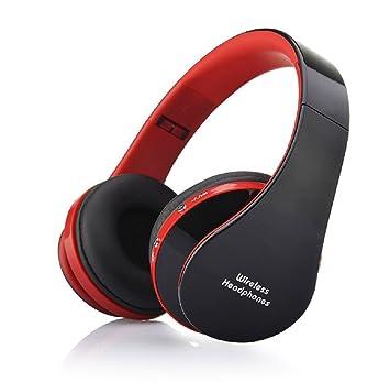 Ularma Moda Plegable Bluetooth inalámbrico auriculares estéreo manos libres auriculares Mic Rojo
