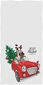 Christmas Dog Red Truck Hand Towels 16x30 in Pug Dog Car Xmas Tree Bathroom Towel Ultra Soft Highly Small Bath Towel Winter Bathroom Decor Gifts