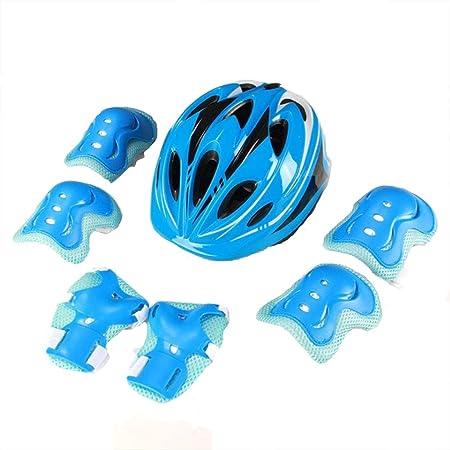 XRQ Casco de Bicicleta para niños, Skate, Patinaje, Patinaje sobre Ruedas (Rodilleras, Coderas, protección para Las Palmas), niños y niñas de 3 a 14 años,Azul,S: Amazon.es: Hogar