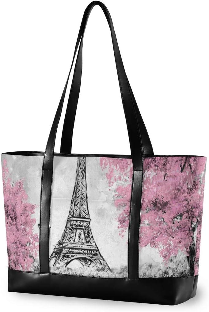 Large Woman Laptop Tote Bag - European City Paris Landscape Eiffel Tower Canvas Shoulder Tote Bag Fit 15.6 Inch Computer Tote Purses for Work School Travel