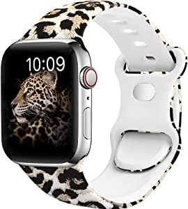 OriBear Watch Band Compatible with Apple Watch Band 38mm 40mm 44mm 42mm Elegant Floral Iwatch Bands for Women Soft Silicone Solid Pattern Printed Replacement Strap for Apple Watch Series 6/5/4/3/2/1