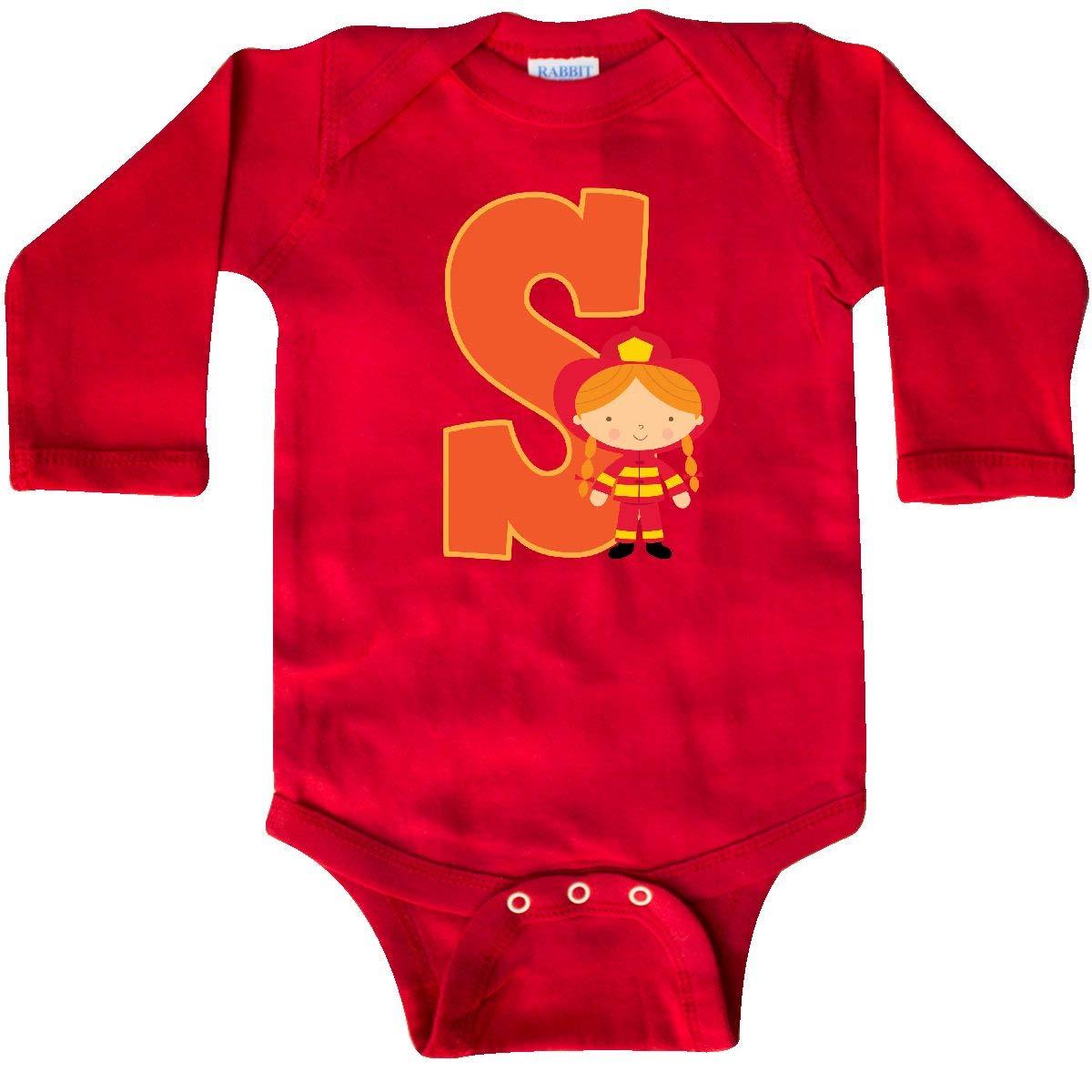 inktastic Firefighter Letter S Monogram Fire Girl Toddler T-Shirt