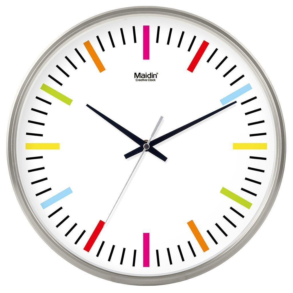 掛け時計 リビングルームのオフィスキッチンのためのモダンな壁時計大装飾ユニバーサルサイレント屋内クォーツラウンドウォールクロック (色 : シルバー しるば゜, サイズ さいず : 12 inch) B07DRHF5V4 12 inch|シルバー しるば゜ シルバー しるば゜ 12 inch