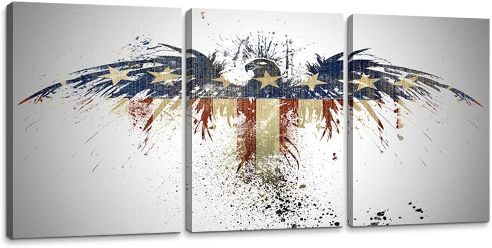 YOUHONG 3 Piece Modern American Flag Art Posters Rustic American Eagle Stars and Stripes Wooden Flag Canvas Prints Wall Decor Patriotic Decor for Home Bedroom Decor (12''Wx16''Hx3pcs)