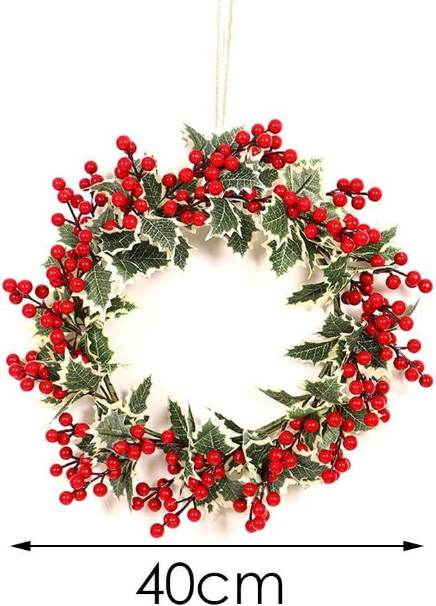 tingtin Couronne De D/écoration De No/ël,noel Christmas Cheminee Couronne,couronne De No/ël Fleur Simul/ée Couronne De Feuilles Blanches De Fruits Rouges reasonable
