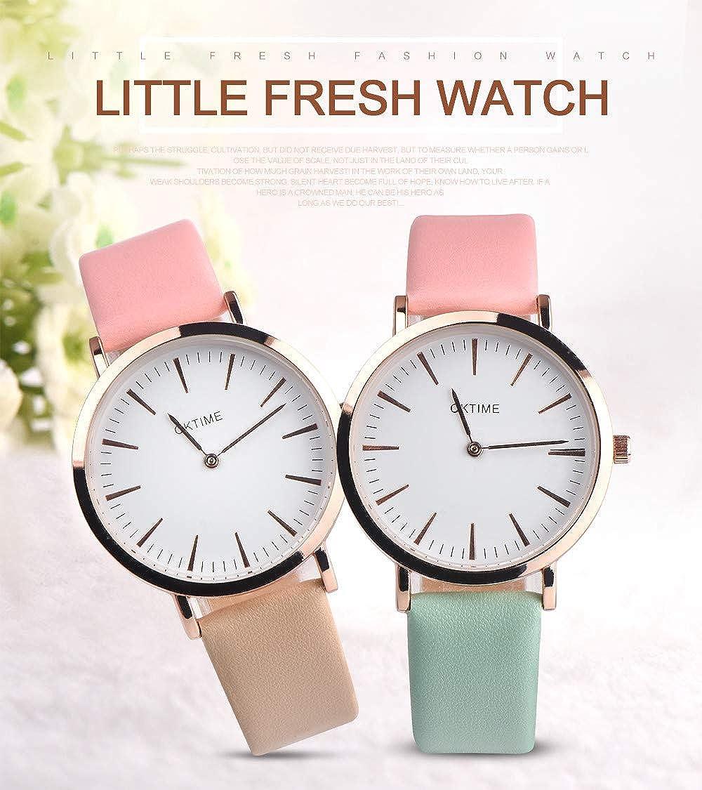 JiaMeng Reloj con Movimiento Cuarzo Diseño Retro del Reloj del Cuarzo de la aleación de la Banda de Cuero del diseño Retro de Las Mujeres de la ...
