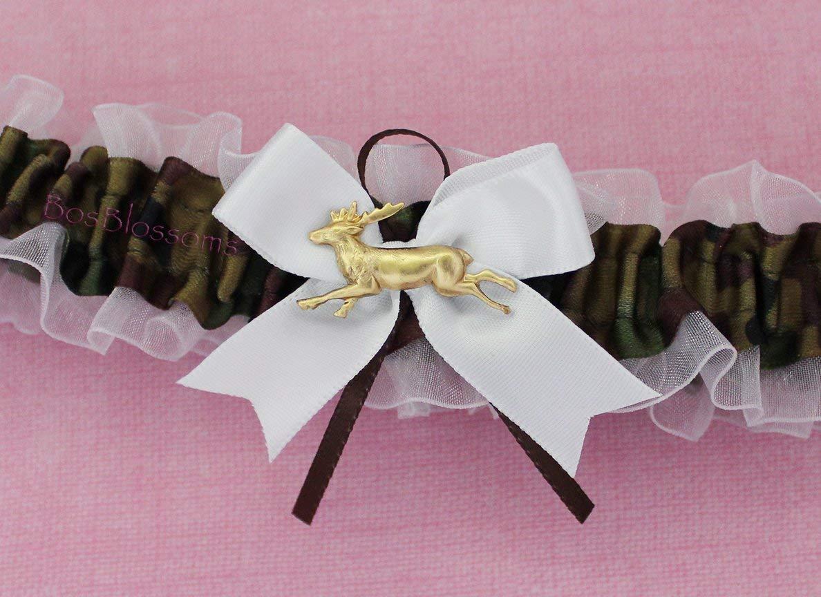Camouflage satin /& white sheer organza bridal prom camo garter set with deer duck fish heart charms or rhinestones Customizable handmade