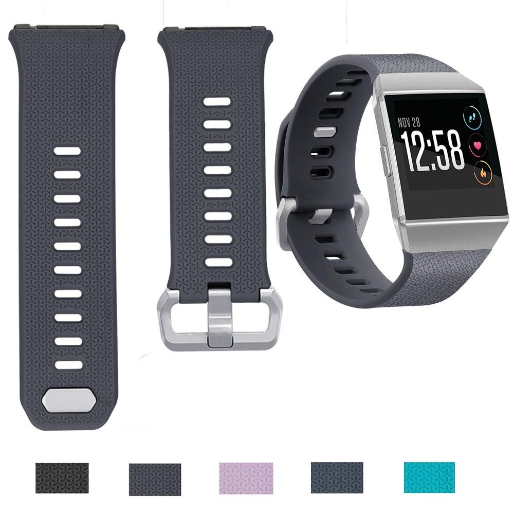 For Fitbit Ionic帯、timita Interchangeable Tpu交換用スポーツリストバンドストラップwithステンレススチールWatchバックルfor Fitbit Ionic Smartwatch、Large & Small Large|グレー グレー Large B076F9BDVQ