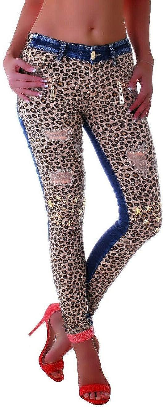 Style-Station Jeans da Donna a Tubo Motivo Leopardato Stile Skinny