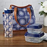 Fit & Fresh Westerly Insulated Lunch Bag with Reusable Container Set and Matching Water Bottle (Navy Vintage Medallion)