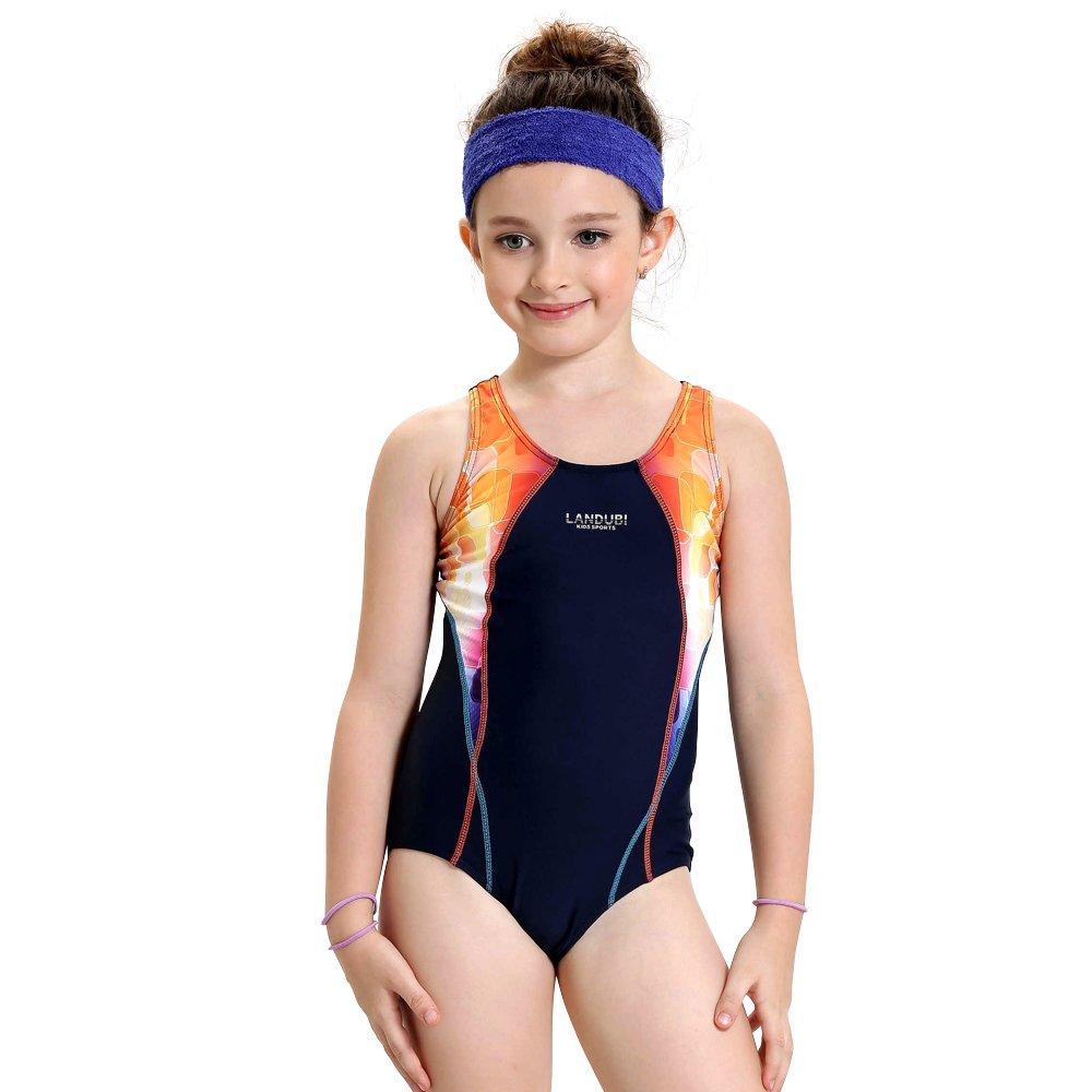 Kids Girl Athletic One Piece Sport Swimsuit Racerback School Lesson Swimwear NIDALEE INTERNATIONAL