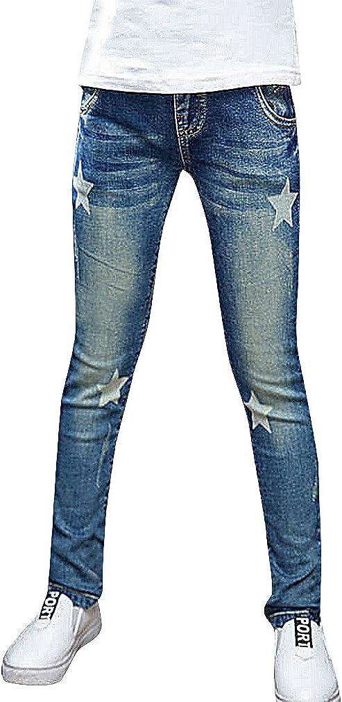 Sweety Girls Stylish Stone Washed Stars Print Pocket Patch Tears Skinny Jeans