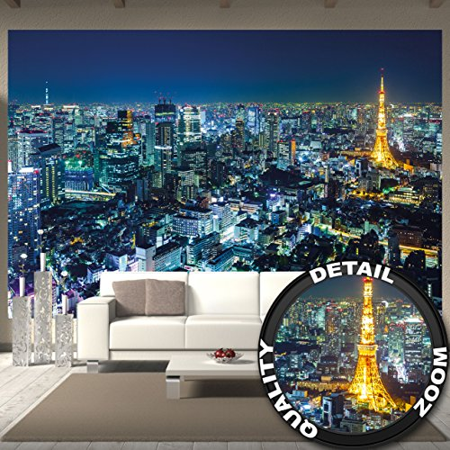 GREAT ART Wallpaper Tokyo City- Wall Decoration Night Skyline Asian Metropolis Tower Panorama Picture Japan (132.3 Inch x 93.7 Inch/336 x 238 - Anime Border