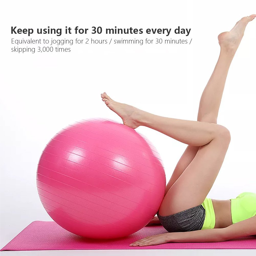 Lintelek Exercise Ball Quick Foot Pump, Professional Grade Anti Burst Stability Ball Yoga, Fitness, Balance, Core Strength, Work Chairs, Gym, Home (Black, 65 cm) by Lintelek (Image #2)