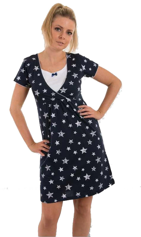 Nitis Umstandsmode Nightwear Nachthemd Nursing Stars Schwangerschaft Stillfunktion
