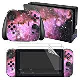 eXtremeRate Full Set Faceplate Skin Decal Stickers for Nintendo Switch with 2Pcs Screen Protector (Console & Joy-con & Dock & Grip)-Purple Galaxy