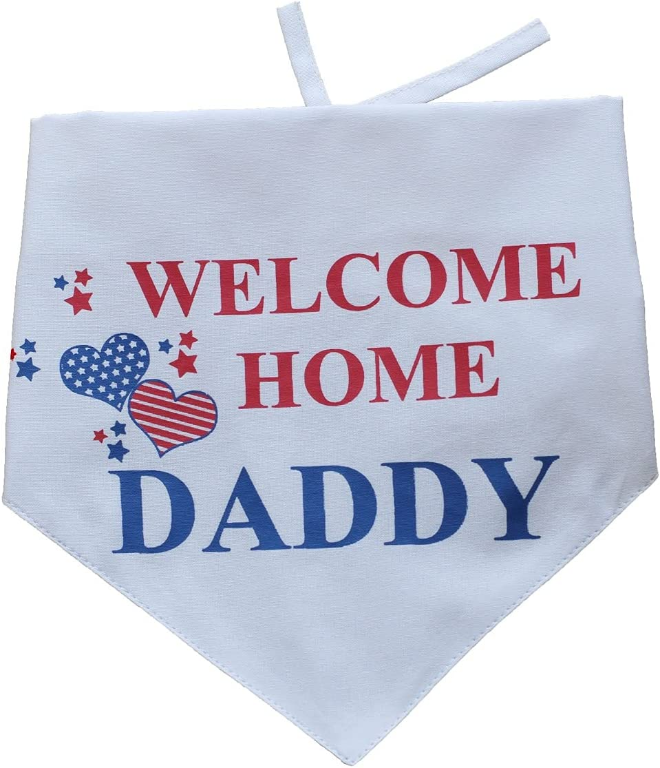 EechicSpace Welcome Home Daddy Dog Bandana Military Scarf Adjustable Reversible Welcome Home Decorations for Small Medium to Extra Large Dogs