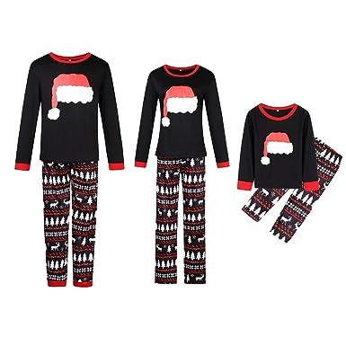 Family Matching Christmas Pajamas Set Santa Hat Printing Black Sleepwear  for Women Men Baby Kids at Amazon Women s Clothing store  afd44894e