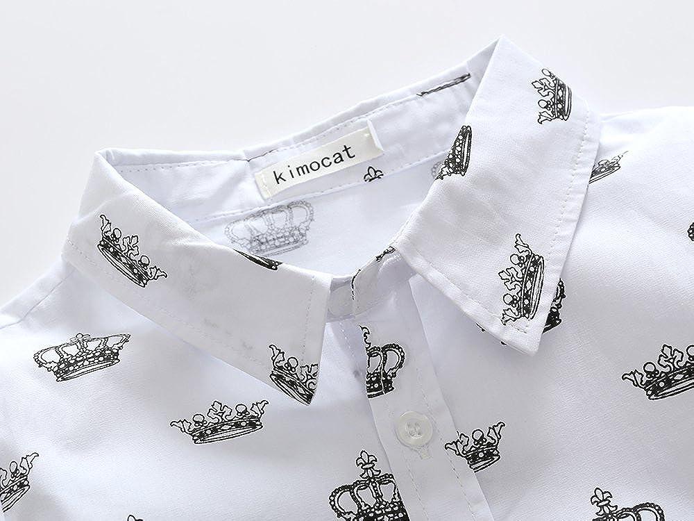 Kimocat Baby Boys Clothes Casual Long-Sleeved Shirts+Denim Pants Set