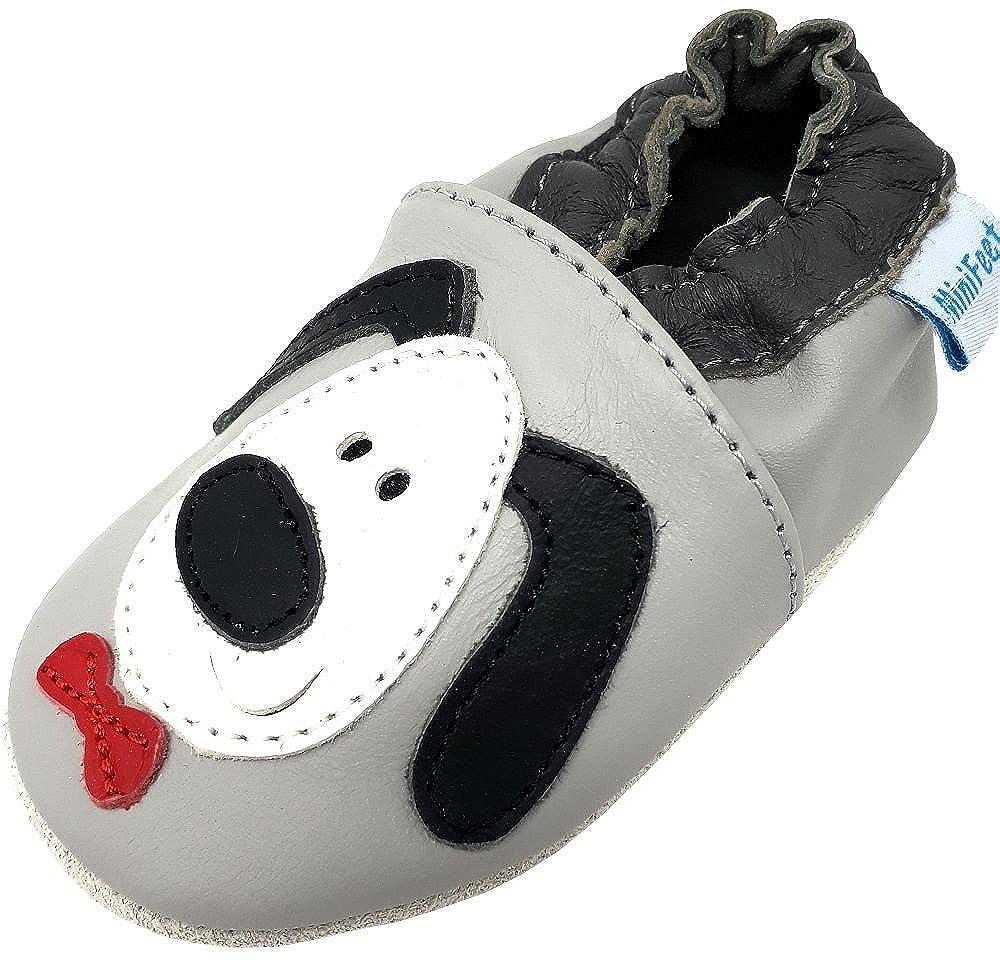MiniFeet Chaussures Bébé - Chaussures Cuir Souple - Chaussures Premiers Pas, Gris Chien