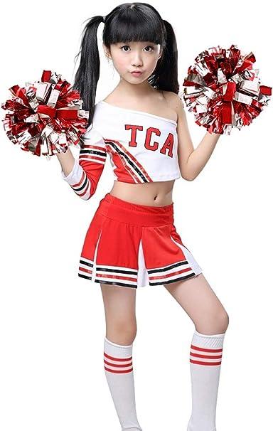 LOLANTA Costume da Cheerleader Rosso per Ragazze Uniforme Champ Cheerleader con Calzini Pom Poms