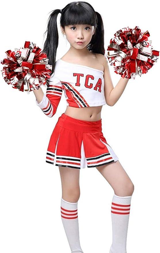 LOLANTA Disfraz de Animadora roja para niñas Uniforme de Animadora ...