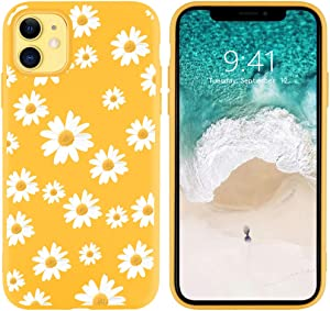 JOYLAND Silicone Daisy Case for iPhone 8 Plus/iPhone 7 Plus Bumper Floral Skin Anti-Scratch Shock Proof Yellow TPU Phone Case Cover Shell Compatible for iPhone 7 Plus/8 Plus