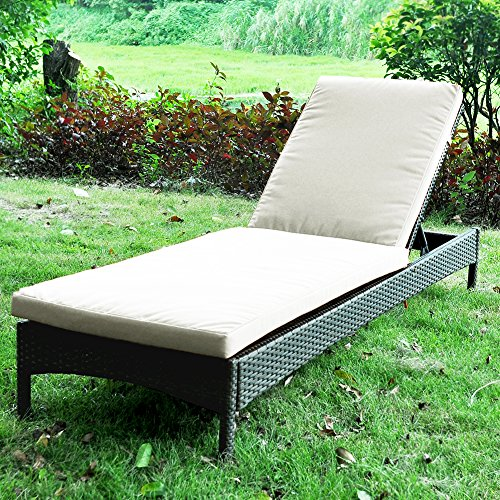 Ultra Poolside Cushion (Pack of 1 Outdoor Wicker Adjustable Chaise Lounge Chair With Cushion, All Weather Resistant Patio Beach Sling Folding Chair, Anti-Rust Aluminum Frame Reclining, Beige)