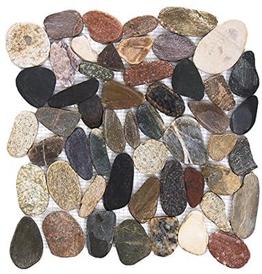 "Emser Tile ""Flat Rivera"" Mesh Pebble Tile, 12"" x 12"", Natural Blend"