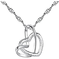 Topdo 1 Pcs Elegant Women Necklace Silver Double Necklace-Heart to Heart-Pendant Interlocking Lovers Frosted Heart Shape Necklace Wedding Jewellery Gifts Valentine's Day Party Birthday Anniversary Thanksgiving Day Christmas Day New Year's Day Gifts
